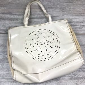 Tory Burch canvas sided white purse